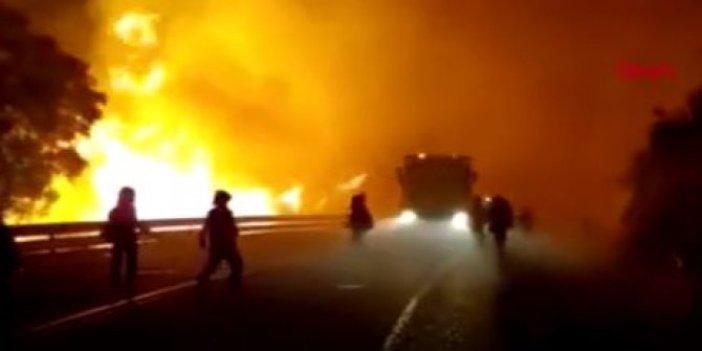 Orman cayır cayır yanıyor. 3 bin kişi kaçıyor