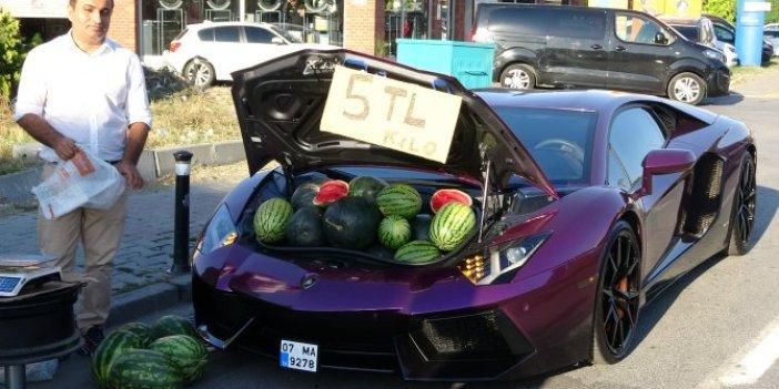 Milyonluk lüks aracında kilosu 5 TL'den kesmece karpuz sattı