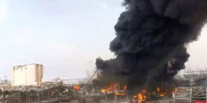 Patlamanın olduğu Beyrut limanında yeniden yangın çıktı