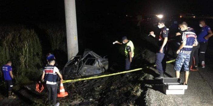 Adana'da feci kaza! Otomobil sürücüsü yanarak can verdi