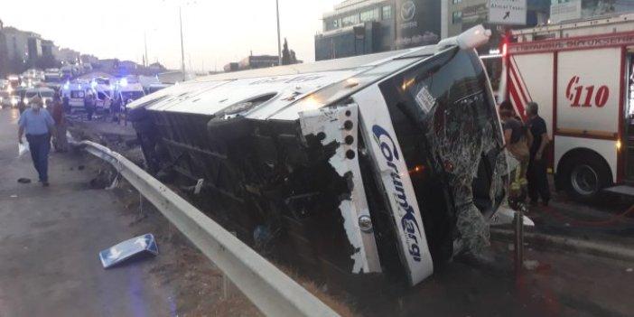 Son dakika...Pendik'te yolcu otobüsü devrildi! Yaralılar var