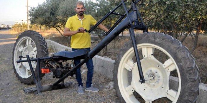 Traktör tekerlekli motosiklet yaptı! Hurdadan topladığı parçalardan