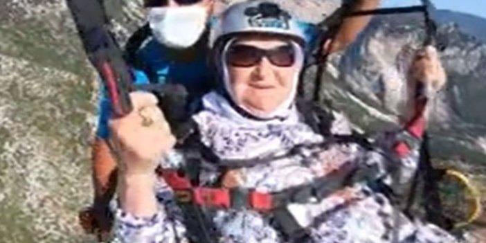 Torunlarının isteğini kıramadı, 100 yaşında yamaç paraşütü yaptı