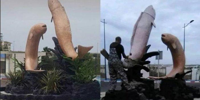 Ahali balık heykelleri yüzünden birbirine girdi. Böyle balık heykeli olur mu