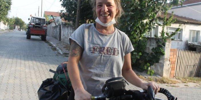 Bisikletiyle Dünya turuna çıkan kadının son durağı Türkiye oldu