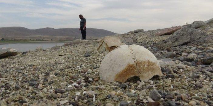 Su seviyesinin düşmesiyle ortaya çıktı. Arkeologlar oraya koşuyor