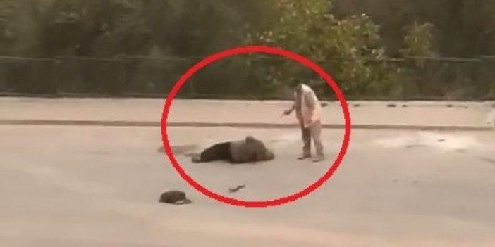 Cani koca karısını sokak ortasında hedef tahtası yaptı. Bu neyin öfkesi bu adam. Kurşunlama anı kamerada