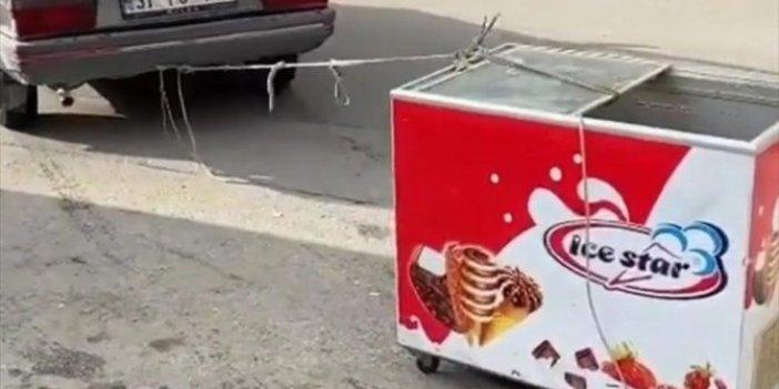 Bu görüntüler Aysun Kayacı'nın o ünlü sözünü hatırlattı. Dondurma arabasını böyle götürdü