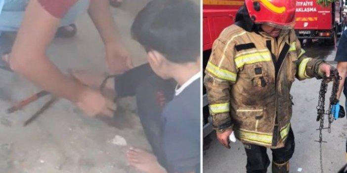 Babasının ayağından zincirlediği 11 yaşındaki çocuk son anda kurtarıldı