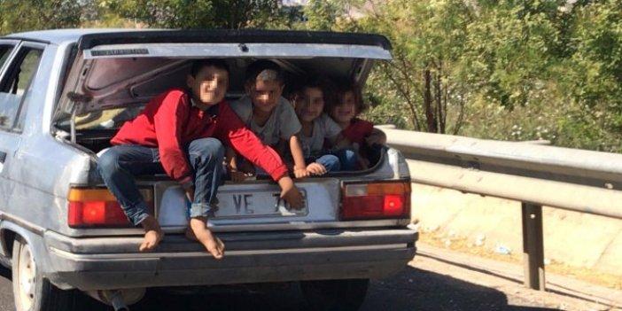 4 çocuğun bagajda tehlikeli yolculuğu
