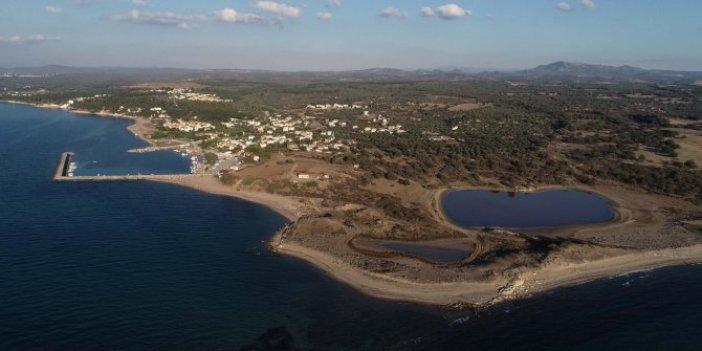 Çanakkale'de deniz göle dönüşünce ortaya çıktı. 12 metre boyunda, 50 ton ağırlığında