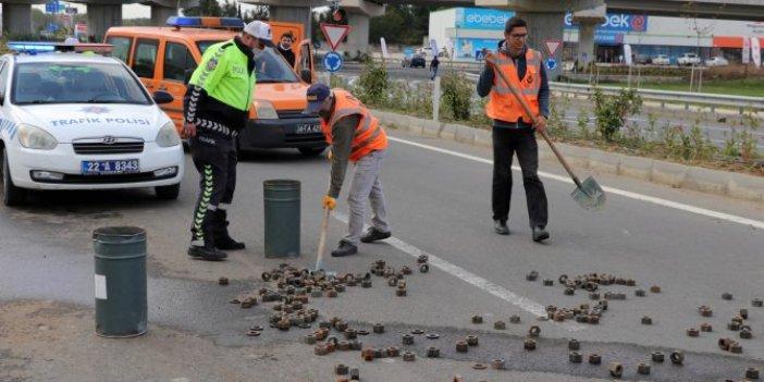 Edirne'de yol somunla kaplandı