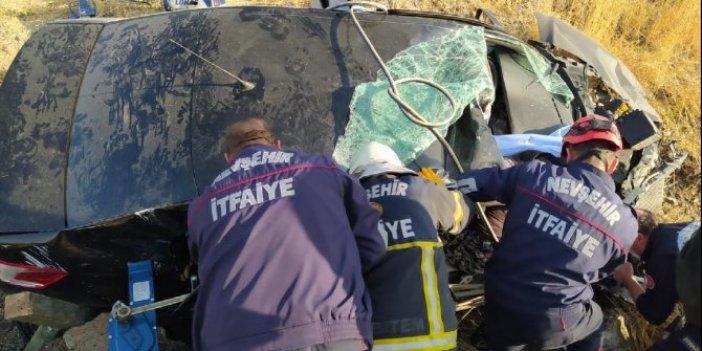 Nevşehir'de feci kaza. Otomobil şarampole yuvarlandı, ölü ve yaralılar var