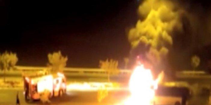 Otobüste diri diri yanacaklardı. Şanlıurfa'da otobüs yandı. 15 kişi son anda kurtuldu.