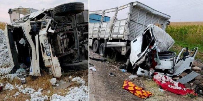 Şanlıurfa'da feci kaza. Pamuk ve mermer yüklü iki kamyon kafa kafaya çarpıştı