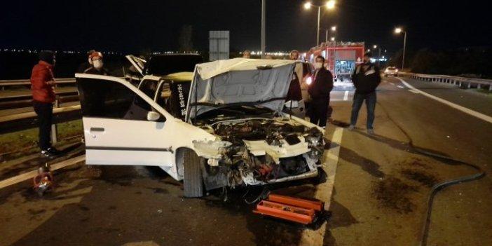 TEM Otoyolu'ndaki kazada 1'i bebek 3 kişi yaralandı