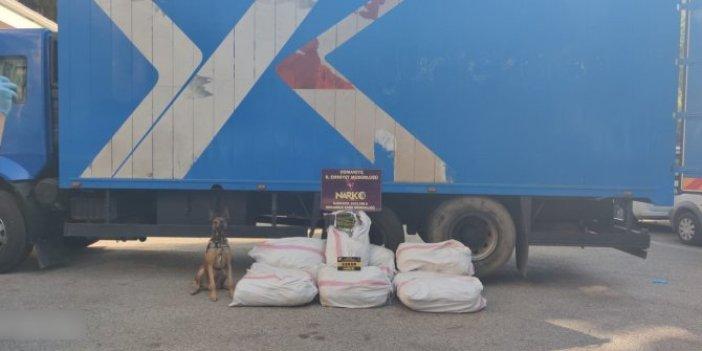 Şüphe üzerine durdurulan kamyondan kilolarca kubar esrar çıktı