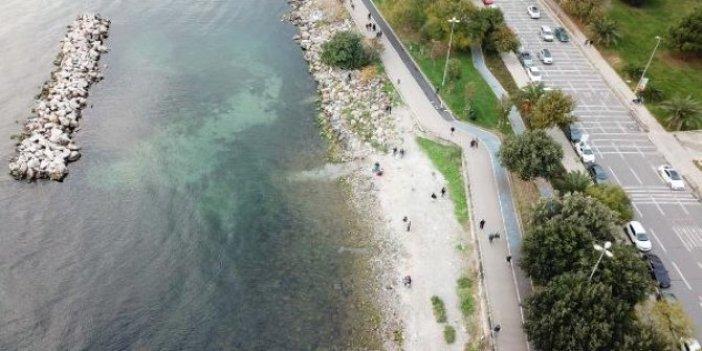 Caddebostan'da sular çekildi. Görenler korkudan sahile yaklaşamadı