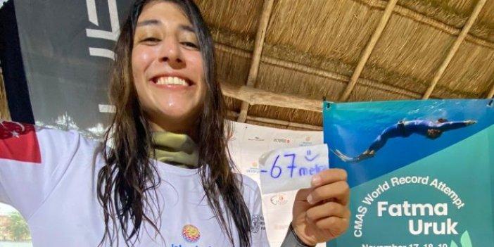 Serbest dalışçıFatmaUruk'tan bir dünya rekoru daha. Rekora doymuyor