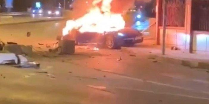 Lüks otomobil bir anda alev aldı. Cayır cayır yandı
