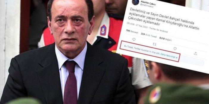 Twitter'dan Alaattin Çakıcı'nın tehdit mektubuna erişim engeli