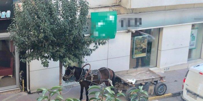 At arabasını kaldırıma park etti