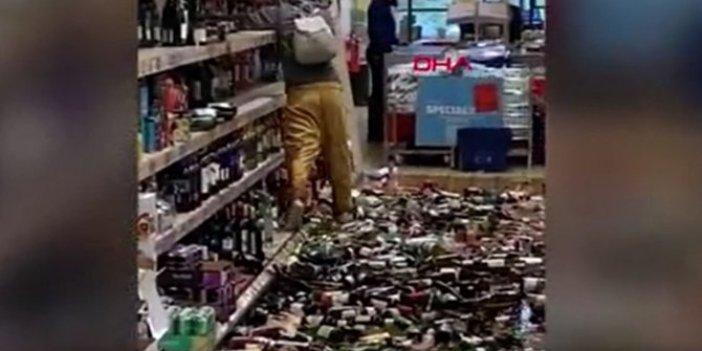 Sinir krizi geçiren kadın marketi altüst etti