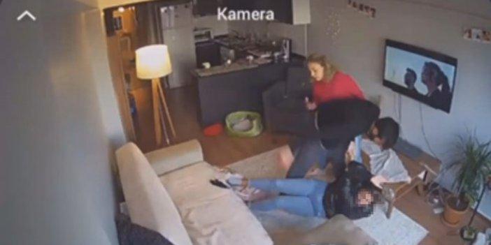 Kadına şiddet kameralara böyle yansıdı. Arkadaşı da engel olamadı