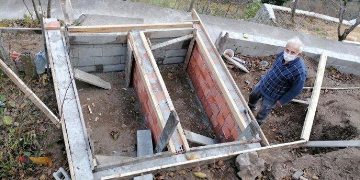 Trabzon'da ölmeden kendi mezarını kazdı. Gerekçesi dakikalarca düşündürdü