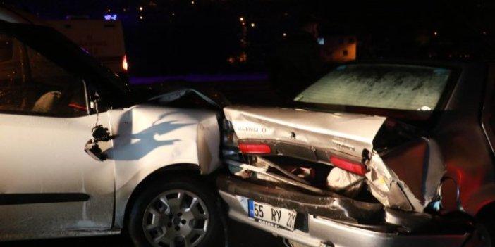 Samsun'da kayganlaşan yolda 7 araç birbirine girdi. Sürücünün açıklaması herkesi şaşırttı