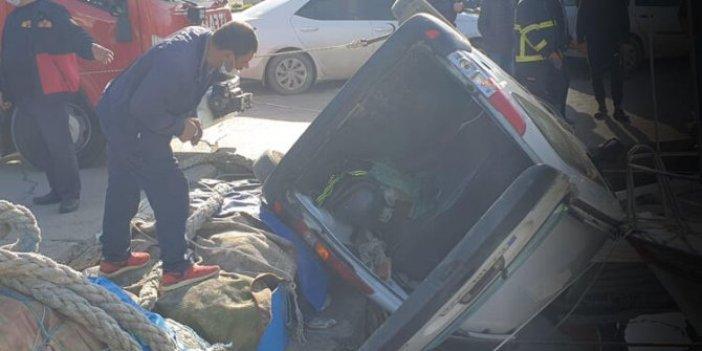 Sİnop'ta ilginç kaza, ticari aracıyla tekneye çarptı