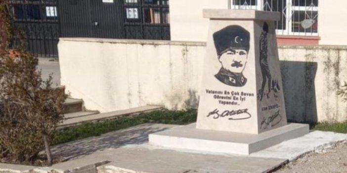 Atatürk'ün heykel ve büstüne çirkin saldırı