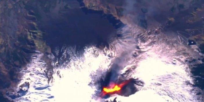 İtalya'da 14 Aralık'ta faaliyete geçen Etna Yanardağı uzaydan görüntülendi