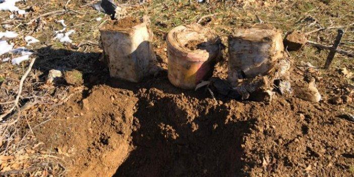 Toprağa gömülü bulundu. Tam 60 kilo hemen imha edildi