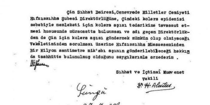2011'de aşı üretim merkezi kapatılan Hıfzısıhha Atatürk ölmeden Çin'e karşılıksız 1 milyon aşı göndermişti