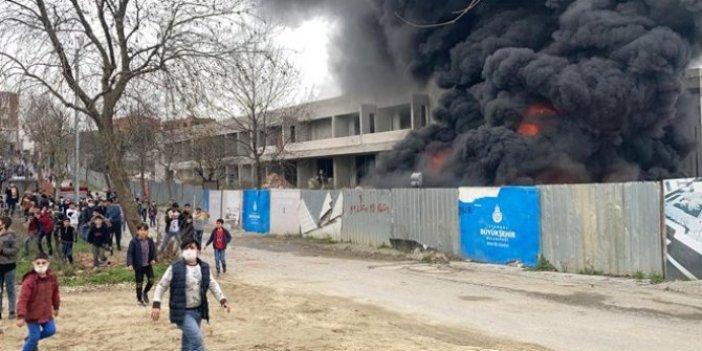 İBB'ye ait kültür merkezi inşaatında yangın