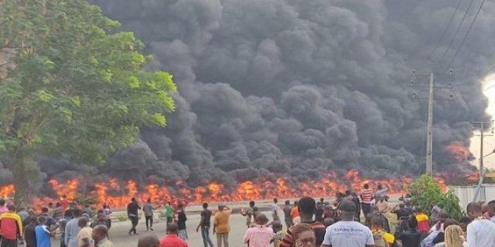 Petrol taşıyan tankerde büyük patlama cayır cayır yandı