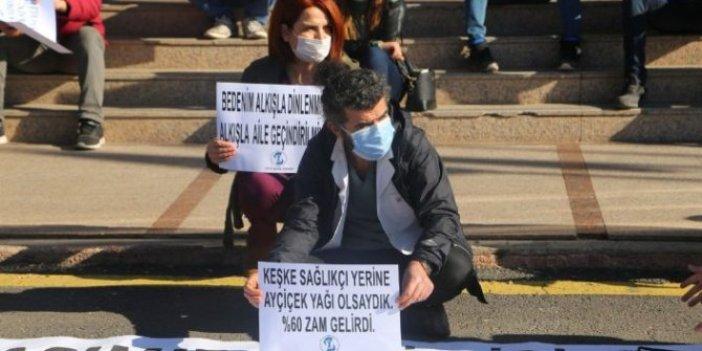 Sağlık çalışanlarından ayçiçek yağlı görülmemiş protesto. Bir dokunan bin ah işitti