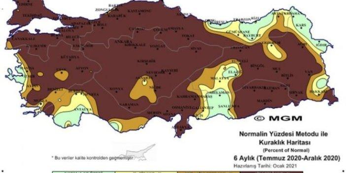 Meteoroloji'den korkutan harita. Son yüzyılda böyle kuraklık görülmedi