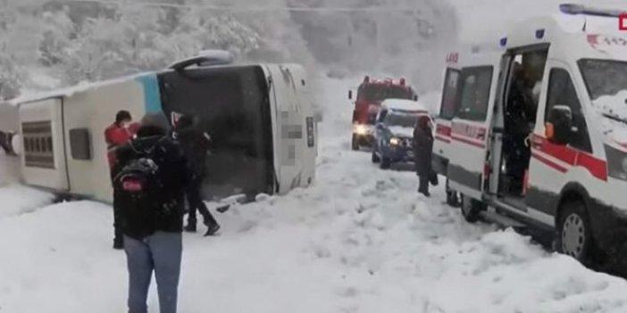 Zonguldak-İstanbul karayolunda yolcu otobüsü devrildi. Yaralılar var