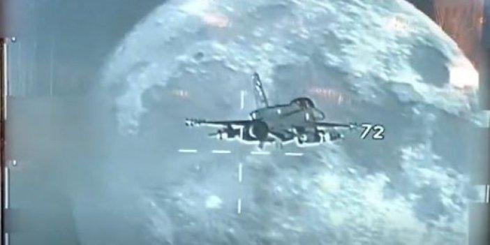 Muhteşem görüntüyü TSK paylaştı. Dolunay ve F-16