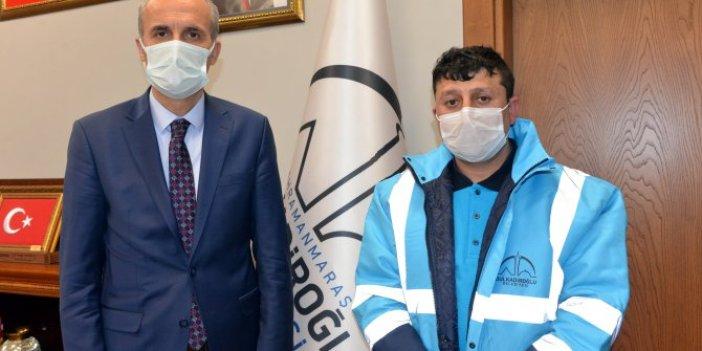Kahramanmaraş'ta çöp atarken 50 bin TL buldu. Temizlik işçisini mutlu eden ödül