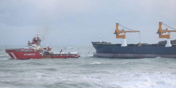 Beykoz açıklarında karaya oturan Panama bandıralı kargo gemisi kurtarıldı