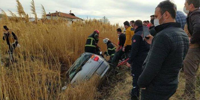 Aksaray'da otomobil sulama kanalına düştü. Sürücüden acı haber